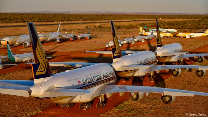 Singapore Airlines A380s parked in a desert